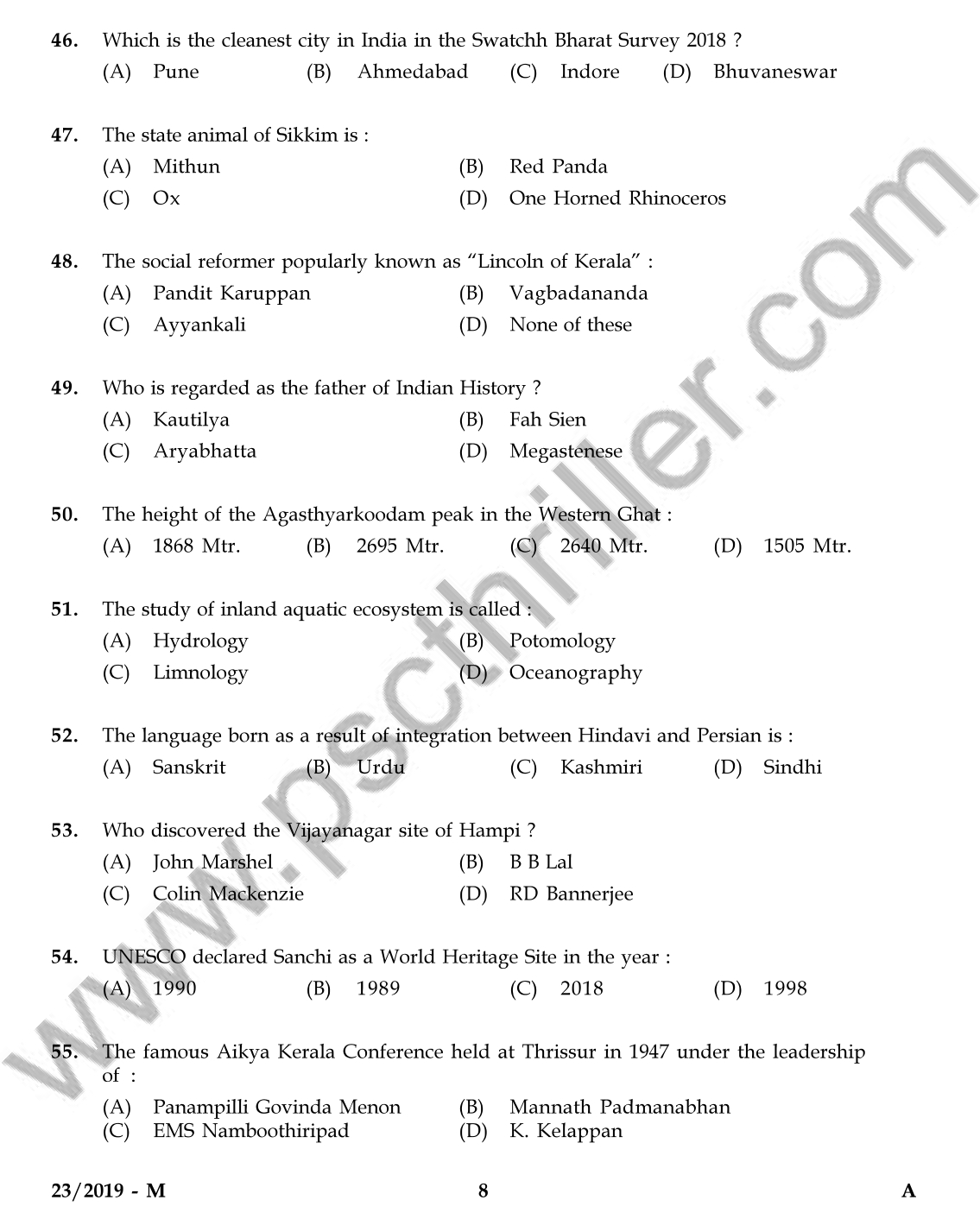 Senior Superintendent-Question Paper-23/2019-KERALA PSC