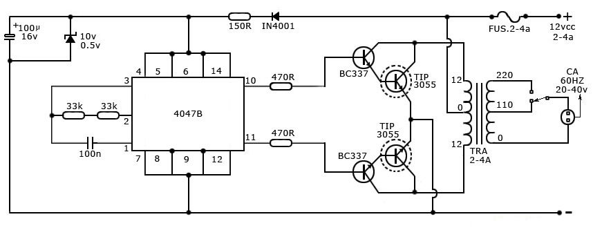 simple 40 watt inverter circuit diagram