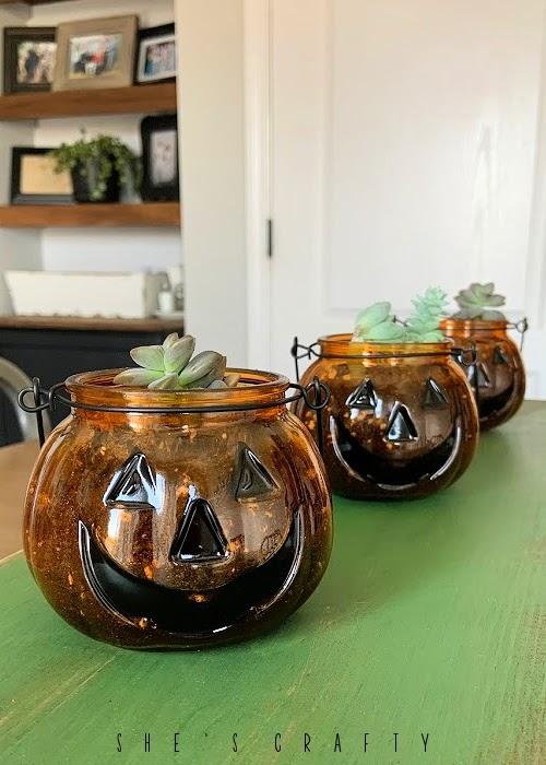 Jack o' Lantern Jar succulent Planters for Halloween