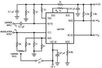 LM1596 based balanced modulator circuit with explanation