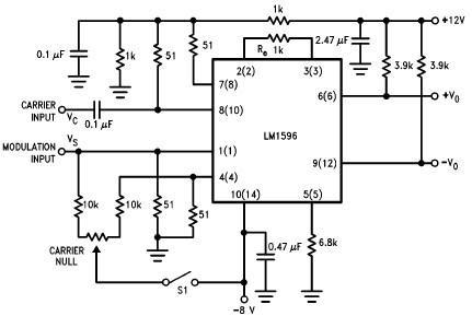 LM1596 based balanced modulator circuit with explanation