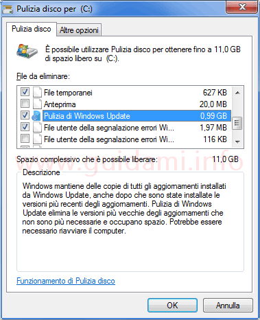 Finestra pulizia file di sistema Windows