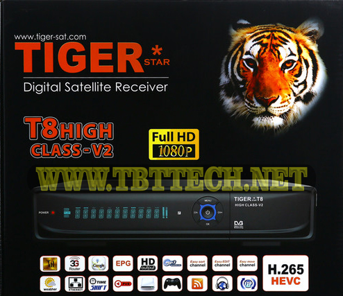 Tiger T8 High Class V2, HD Receiver Software New Update V3.80 2020