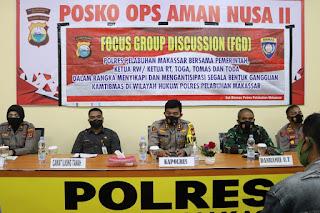 Cegah Gangguan Kamtibmas, Polres Pelabuhan Makassar Gelar FGD