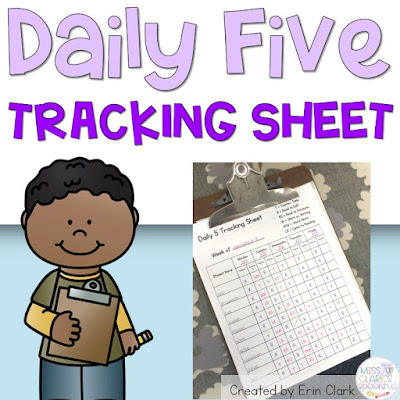 miss clark's spoonful free daily five tracking sheet