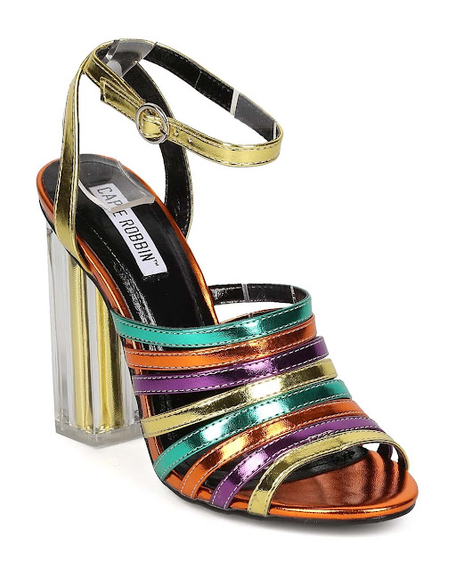 Cape Robbin Rainbow Strappy Sandals with Lucite Heel