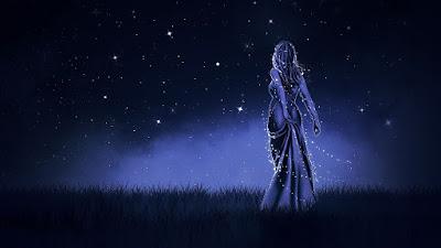 Goddess in beautiful night sky
