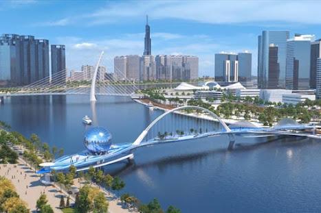 Phối cảnh thiết kế 3D cầu đi bộ băng qua sông Sài Gòn