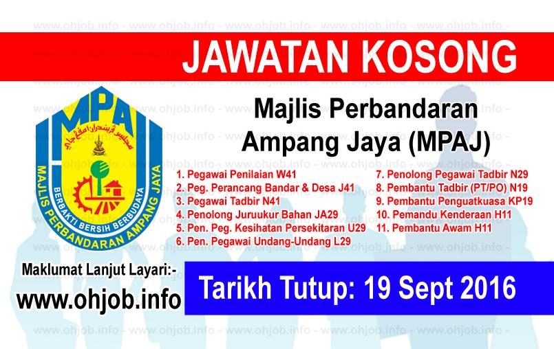 Jawatan Kerja Kosong Majlis Perbandaran Ampang Jaya (MPAJ) logo www.ohjob.info september 2016