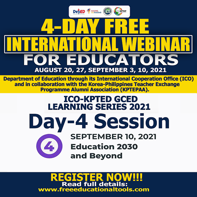 DEPED ICO DAY 4 SESSION | 4 DAY FREE INTERNATIONAL WEBINAR FOR TEACHERS | GCED LEARNING SERIES 3 | SEPTEMBER 10 | REGISTER HERE