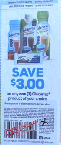 """$3.00/1 Glucerna Product Coupon from """"SMARTSOURCE"""" insert week of 1/5/20 (exp. 5/18)."""