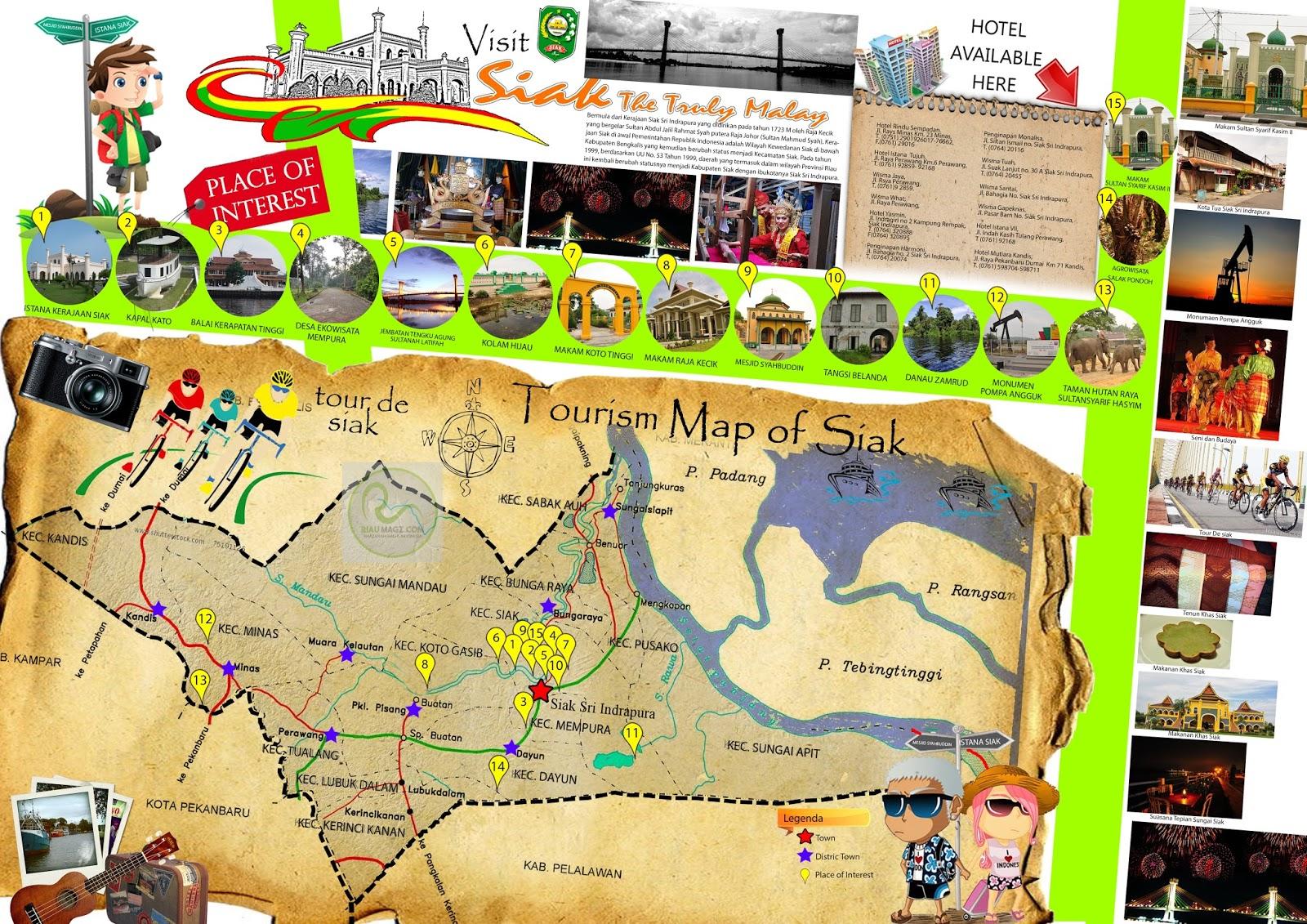 Peta Wisata Kabupaten Siak - Tourism Map of Siak Sri ...