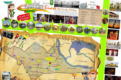Peta Wisata Kabupaten Siak - Tourism Map of Siak Sri Indrapura - Riau - Indonesia