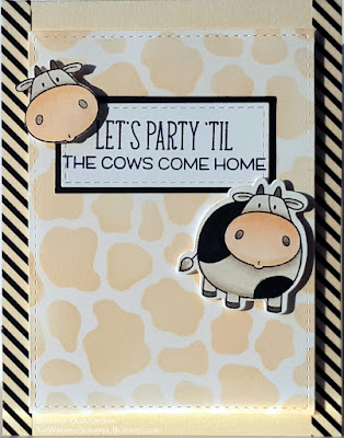 Handmade birthday card using MFTWSC296 sketch with cow images from The Whole Herd stamps
