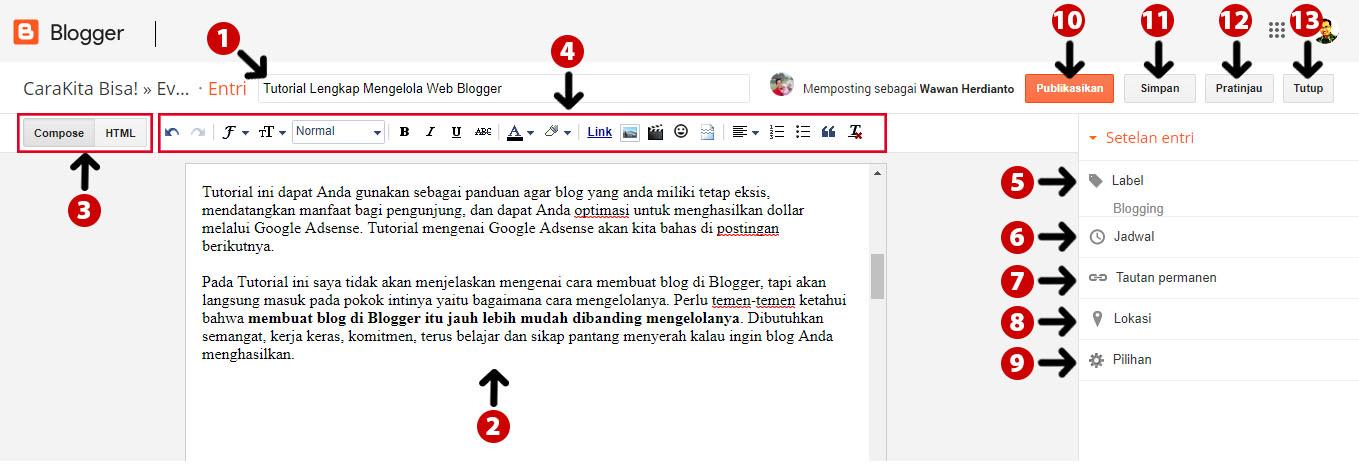 halaman editor artikel di blogger