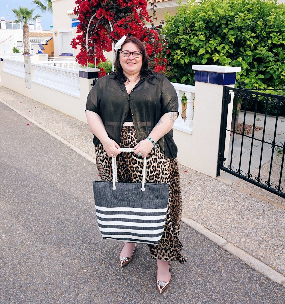 Leopard print skirt and sheer gold shirt plus size outfit featuring Elvi plus size holiday wear plus size cruise wear plus size occasion wear