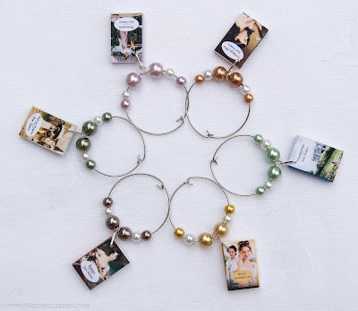 6 Jane Austen Mini Book Themed Wine Charms