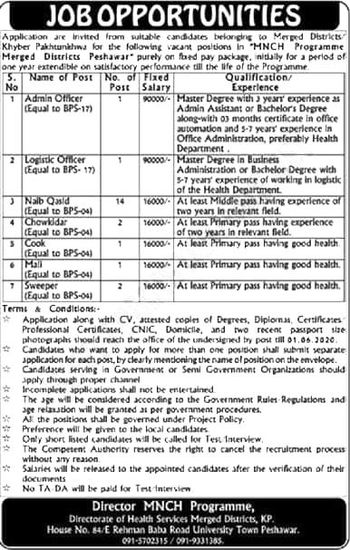 Jobs Available in MNCH Program Merged Districts Peshawar - Latest Jobs 2020