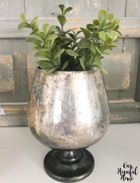 tarnished silver trophy cup goblet