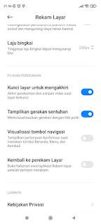 Setting aplikasi Rekam Layar Xiaomi
