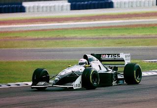 De Cesaris driving a Sauber in the 1994 British Grand Prix in his final competitive season