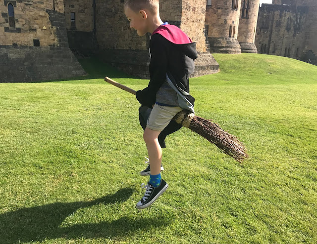broomstick flying outside alnwick castle