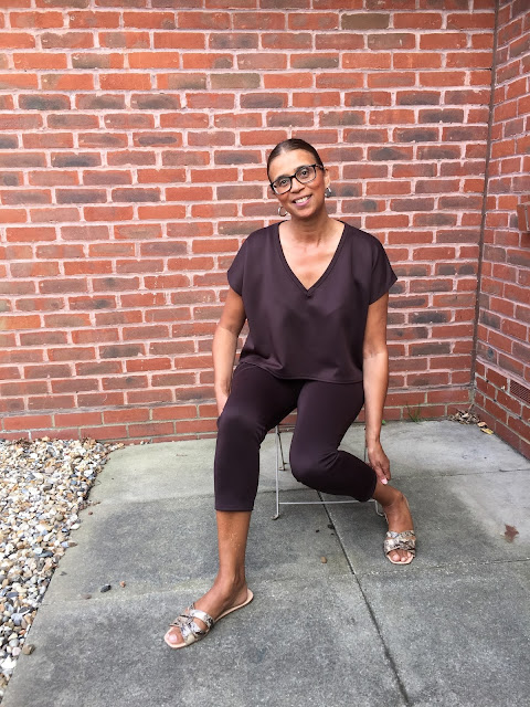 Brown v neck boxy loungewear set- Estelle
