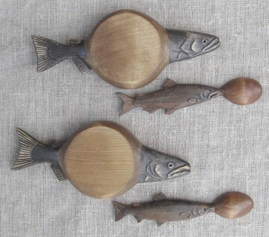 Резные деревянные наборы для икры