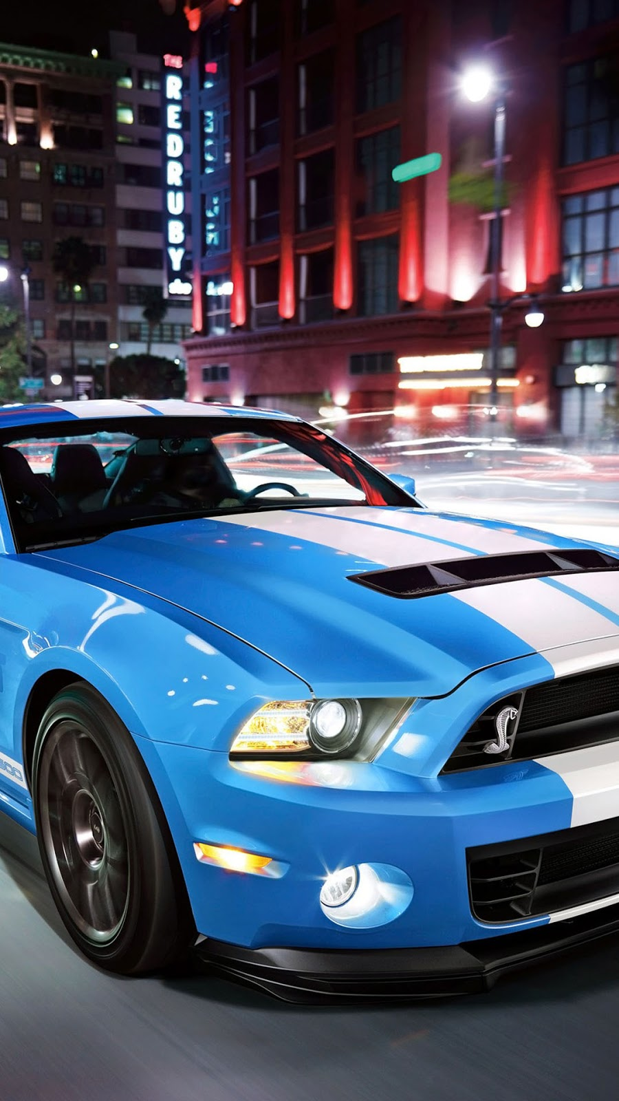 Shelby Mobil Sport Biru Wallpaper Android