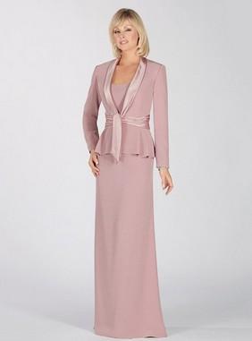 Sheath/Column Peal Pink Chiffon Ruffles Pretty Square Neckline Mother of the Bride Dresses -Price: USD $110.91 (56.0% OFF)