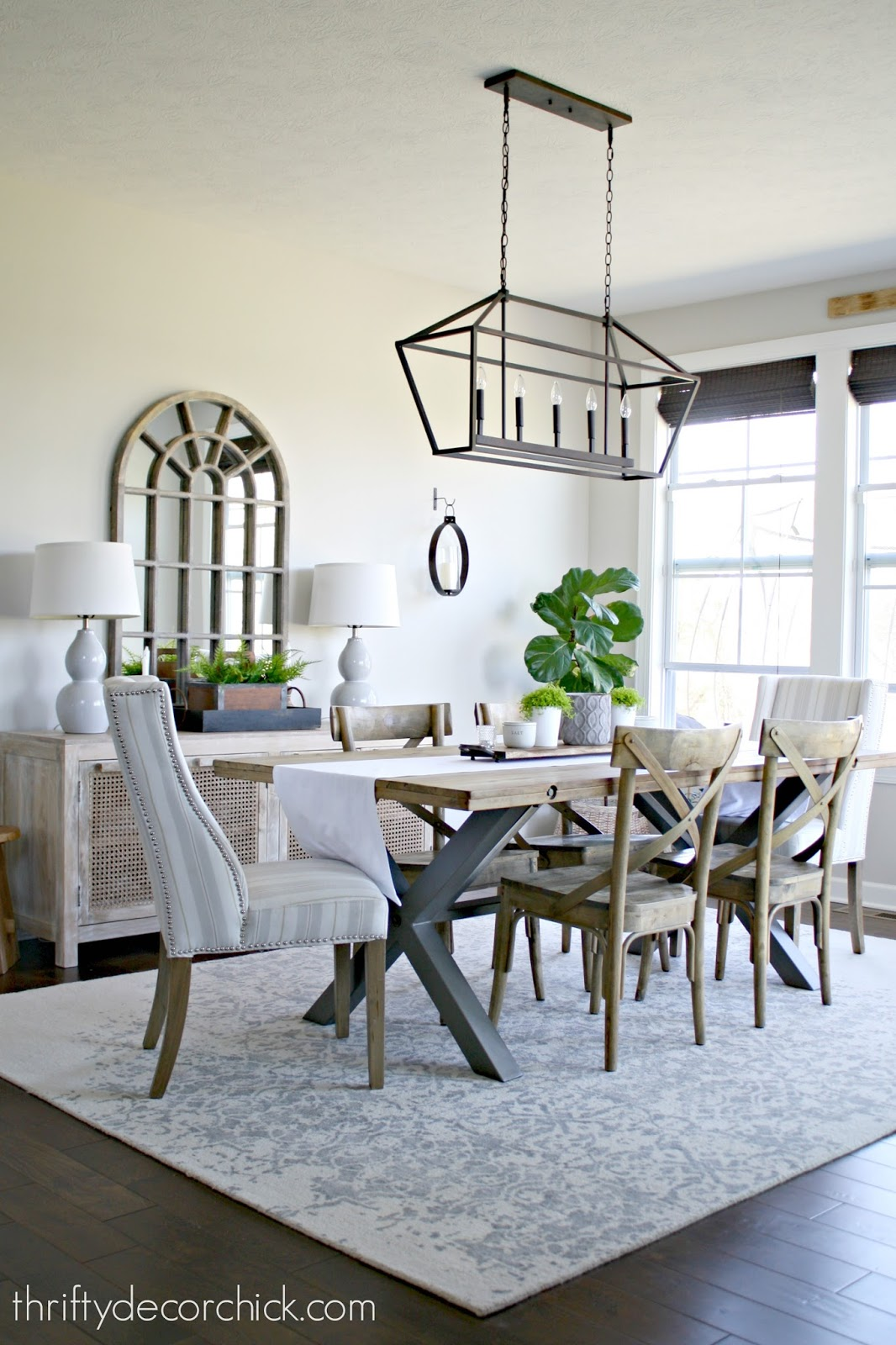 Dining room with light wood and metal accents