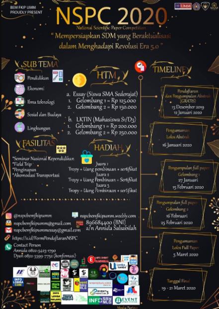 Lomba LKTIN dan Essay Nasional NSPC 2020 di Universitas Muhammadiyah Malang