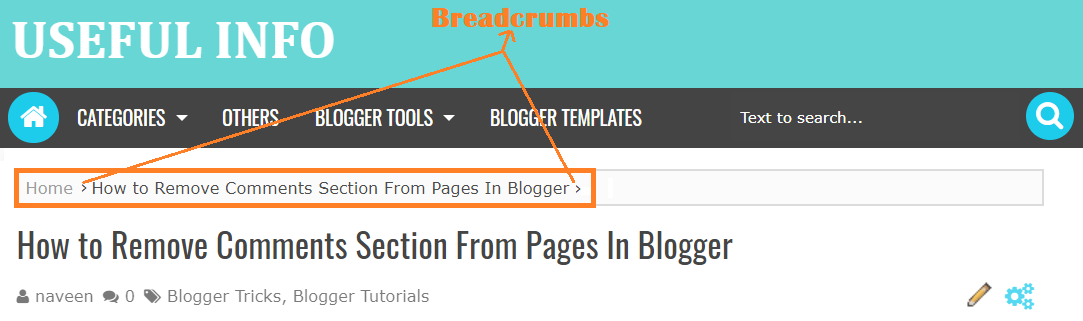 Breadcrumbs in blogger blog post