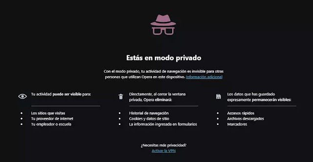 modo privado navegador opera