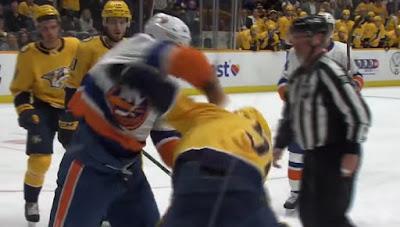 nhl hockey fight predators islanders
