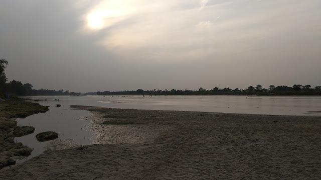 Sunset in the river Mahananda