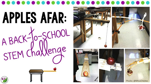 Back-to-School STEM Challenge: In Apples Afar, students build the an apple cantilever! Perfect for studying forces and motion. Includes modifications for grades 2-8.