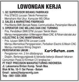 Lowongan Kerja PT. Fast Precision Manufacturing
