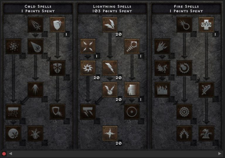 The skill for the lightning sorceress. You can distribute the remaining 5 points freely - for example in other controls.
