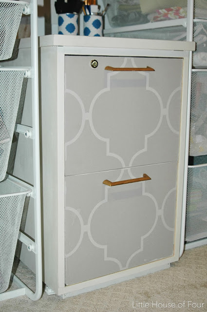 Wallpaper covered file cabinet transformation.