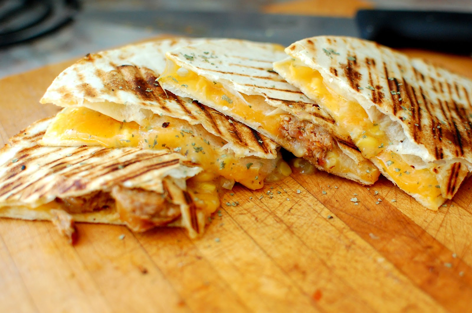 Reckless Abandon Spicy Sausage and Creamed Corn Quesadillas