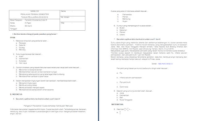 Soal PTS/UTS Kelas 3 SD/MI: Tema 5 Subtema 3-4