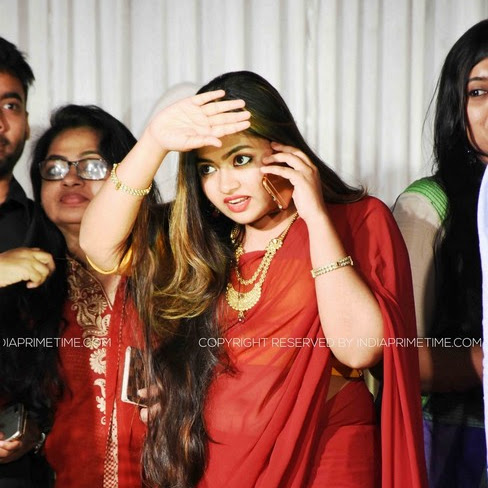 Shaalin Zoya latest photos in saree from Anu Mohan's wedding
