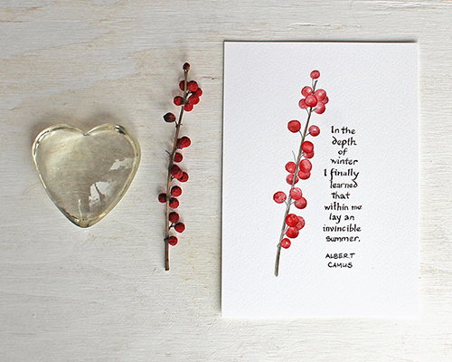 Winterberry Watercolor Print with Camus Quote