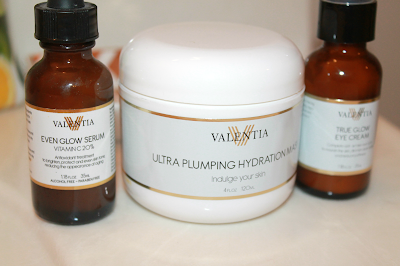 Valentia Even Glow Serum, Valentia Ultra Plumping Hydration Mask, Valentia True Glow Eye Cream