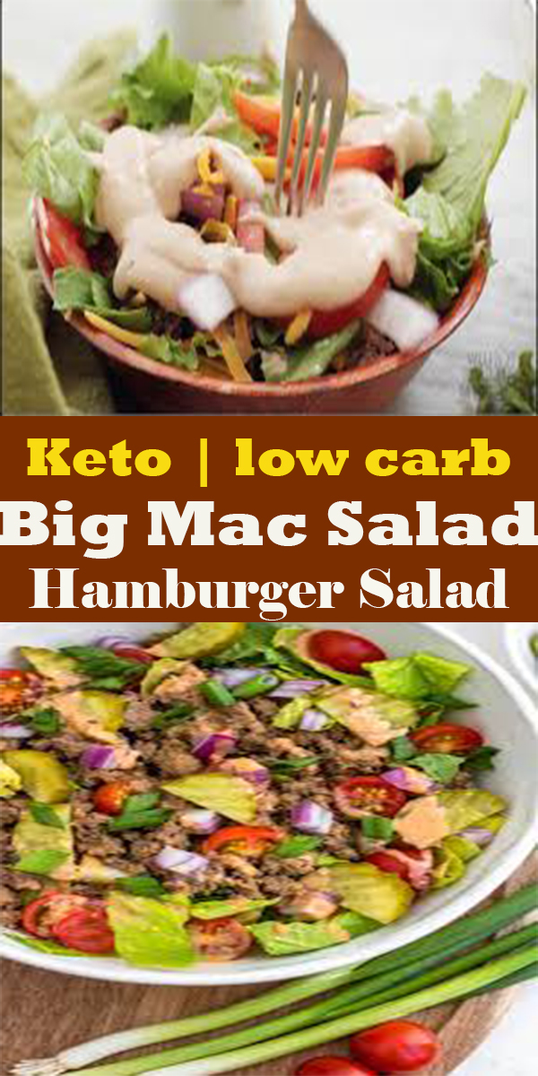 Keto Big Mac Salad Low Carb Hamburger Salad #Keto #Big #Mac #Salad #LowCarb #Hamburger #Salad #KetoBigMacSaladLowCarbHamburgerSalad