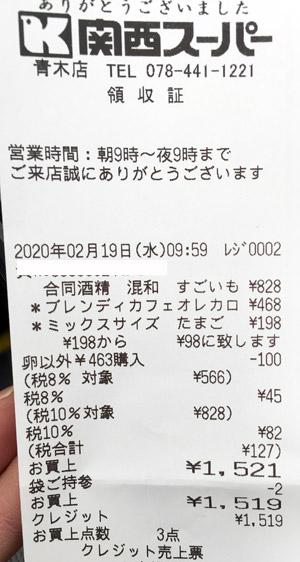 関西スーパー 青木店 2020/2/19 のレシート