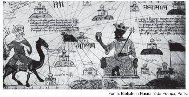 O documento acima é uma página do Atlas Catalão, produzido por volta de 1375