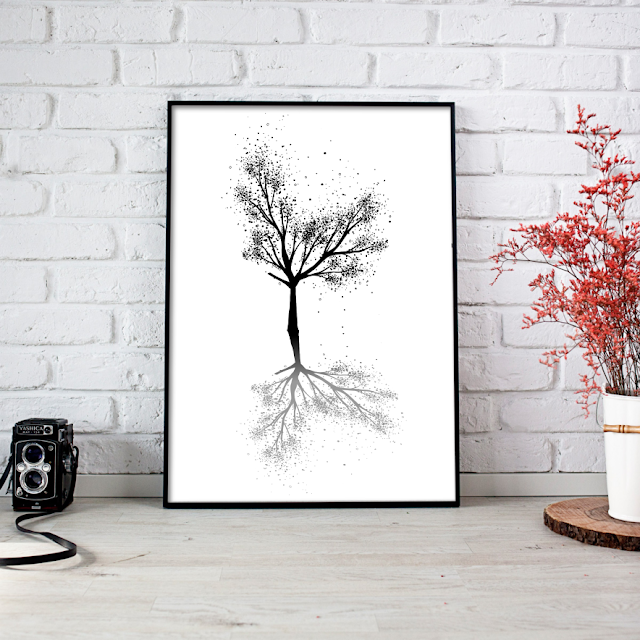 Black Tree Ink Art