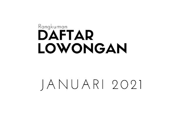 Daftar Lowongan Kerja Bulan Januari 2021